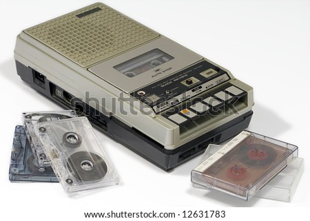 vintage cassette tape recorder isolated on white background - stock photo