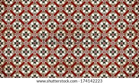 Vintage cement mosaic floor tile pattern for background.  - stock photo