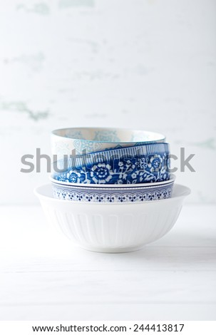 Vintage ceramic bowls, stacked - stock photo