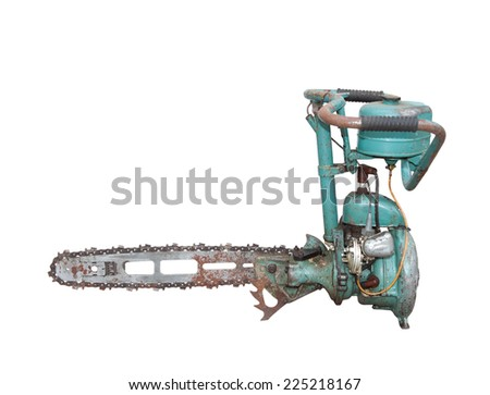 vintage chainsaw isolated on white background - stock photo