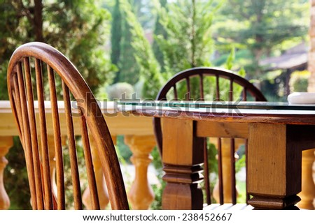 vintage chair and table - stock photo