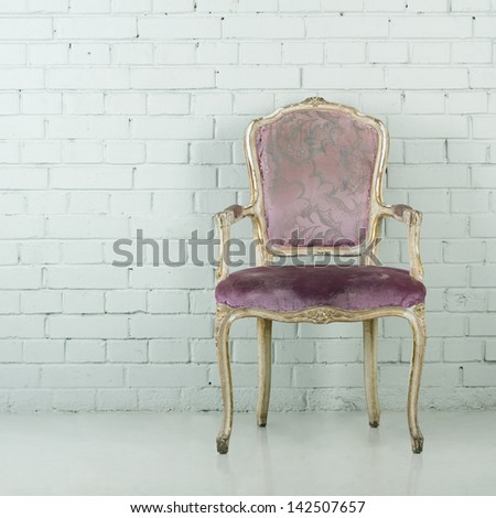Vintage chair in empty white room. Copy-space - stock photo