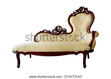 Vintage chaise lounge isolated on white - stock photo