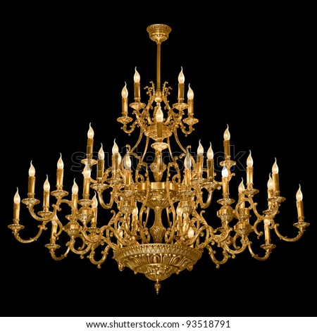 Vintage chandelier isolated on black background with clipping path - stock photo