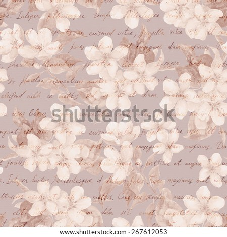 Vintage cherry, apple flowers with retro hand written letter text. Retro brown aged paper. Water color repeating pattern - stock photo