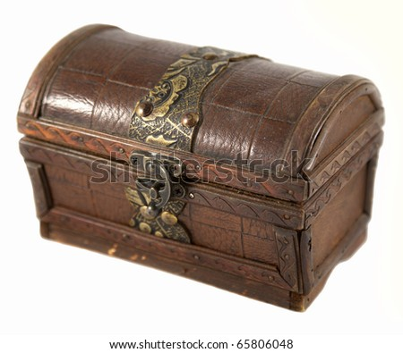Vintage chest isolated on white - stock photo