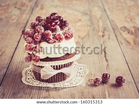 Vintage chocolate cupcake with sugared redcurrant. Selective focus - stock photo