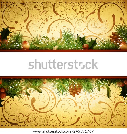 Vintage Christmas and New Year Fir Tree Frame With Mistletoe, Copyspace - stock photo