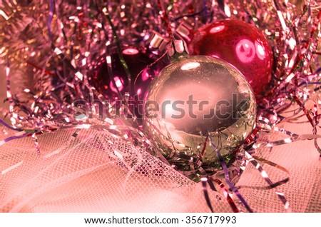 Vintage Christmas background with Christmas decoration. Christmas baubles. Vintage Christmas composition - stock photo