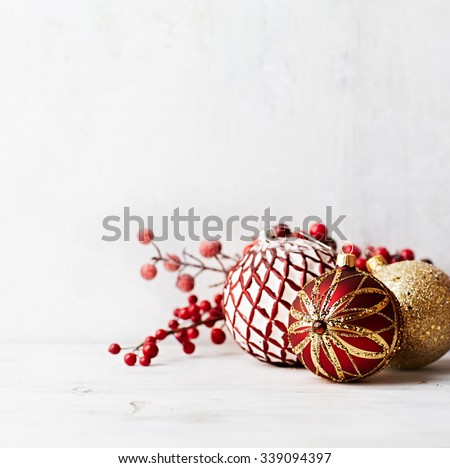 Vintage Christmas balls on a white painted wood - stock photo