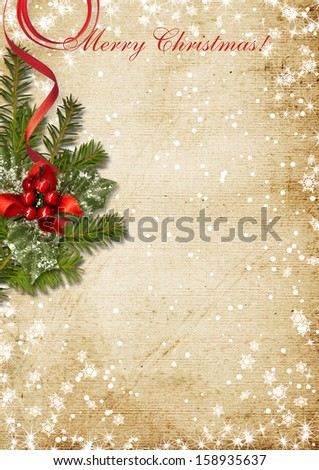 Vintage Christmas card with the holly - stock photo