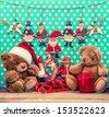 vintage christmas decoration with antique toys. sentimental nostalgic retro style picture - stock photo
