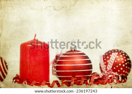 Vintage Christmas decoration with red Christmas balls - stock photo