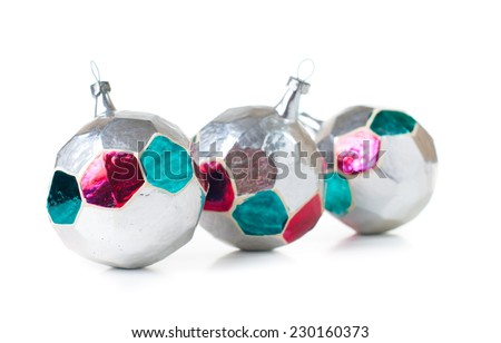 Vintage Christmas decorations, glass balls on a white background isolated - stock photo