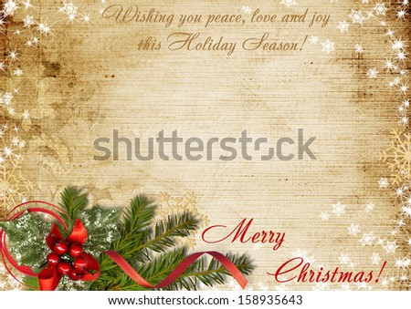 Vintage Christmas postcard with the wishes  - stock photo