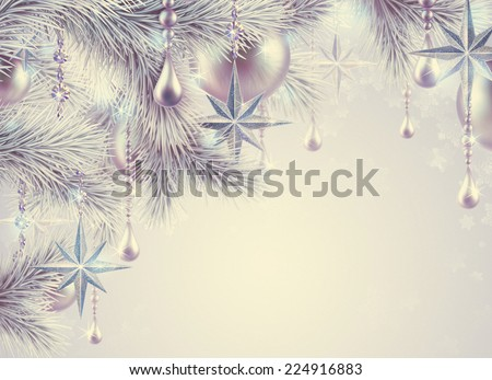 vintage Christmas tree ornaments and decorations background, winter holiday illustration - stock photo