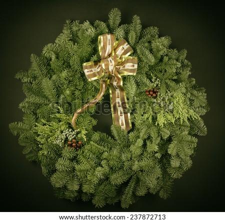 Vintage Christmas Wreath - stock photo