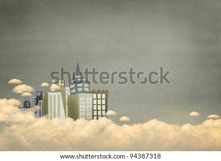 Vintage city on clouds grunge background - stock photo