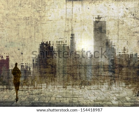 Vintage city skyline with small female figure - stock photo