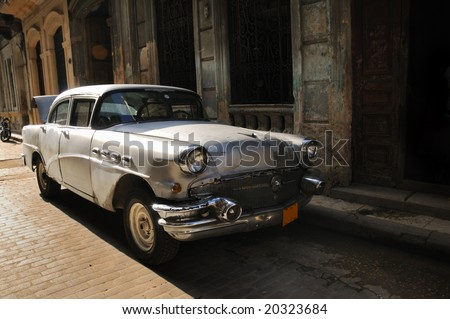 Vintage classic american car in the streets of Old havana - stock photo