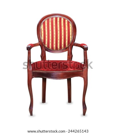 Vintage classic red armchair isolated over white - stock photo