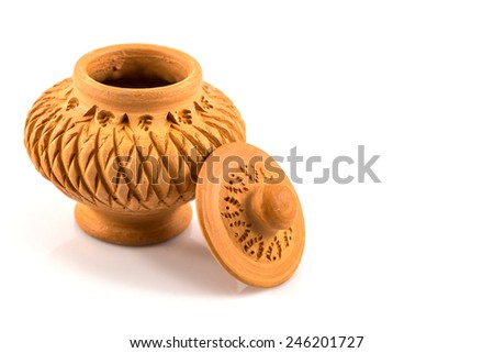 Vintage Clay Pot with hand made texture - stock photo