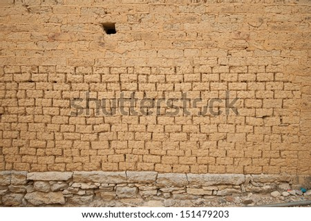 Vintage clay wall and sandy floor texture background - stock photo
