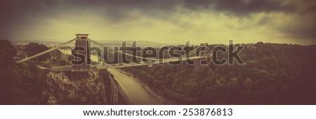 Vintage Cliffton Bridge - Bristol, England - stock photo