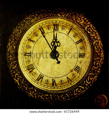 Vintage clock-New Year`s at midnight - stock photo