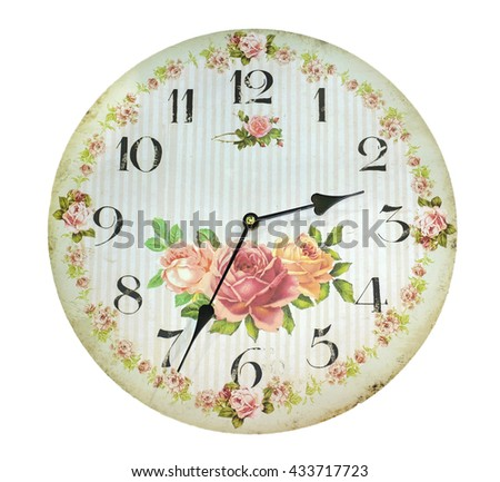 Vintage clock on white background, color style - stock photo