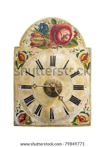 Vintage clock with floral design - cutout - stock photo