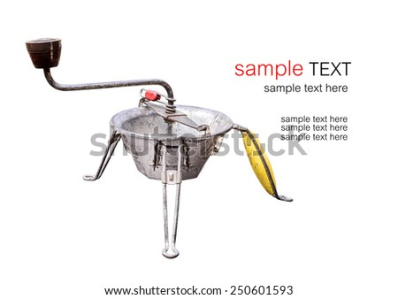 Vintage coffee grinder isolated on white - stock photo