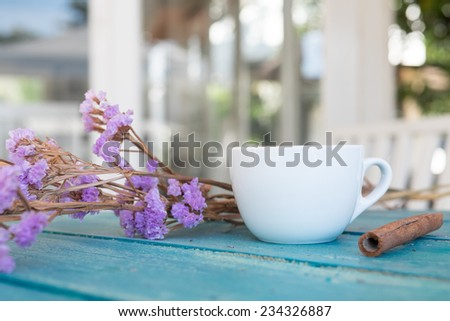 vintage coffee on wood table - stock photo