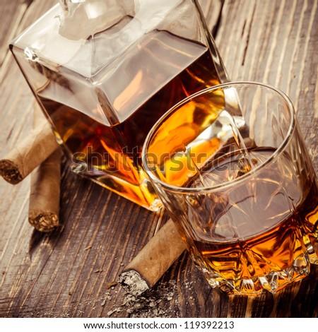 Vintage cognac - stock photo