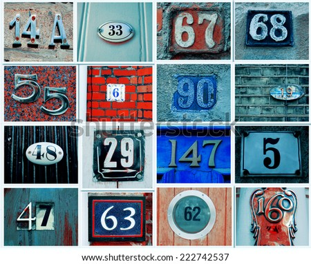 Vintage Collage of House numbers  - stock photo