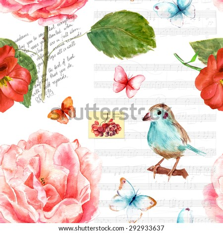 Vintage collage seamless background pattern with watercolour drawings of roses, butterflies, a bird, a fragment of a letter in English, sheet music and a French postage stamp - stock photo