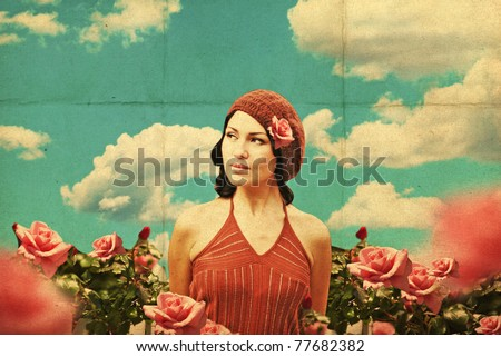 vintage collage with beauty young woman in roses, retro pattern - stock photo