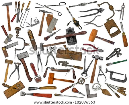 vintage collectible tools mix collage over white - stock photo