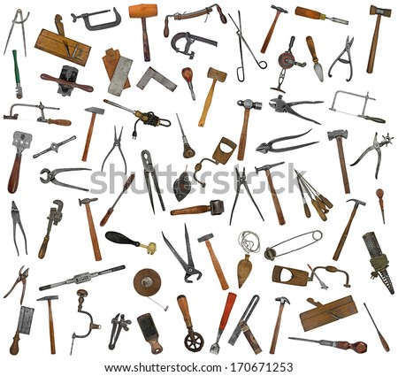 vintage collectible tools mix collage over white background - stock photo