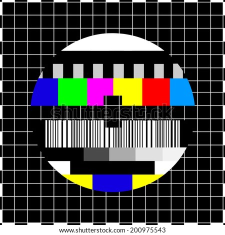 Vintage coloful TV screen in case of no signal - stock photo