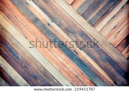 vintage color of  plank wood texture background,Diagonal alignment wall,tropical color - stock photo