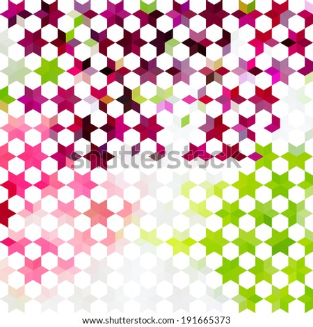 Vintage colorful minimalistic background with geometric ornament with stars. Raster version - stock photo