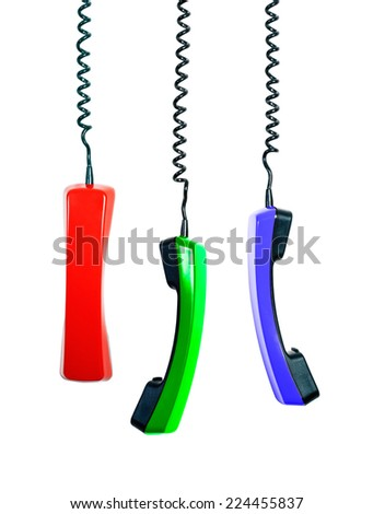 Vintage colorful phone receivers collection on white background. Communication technology - stock photo