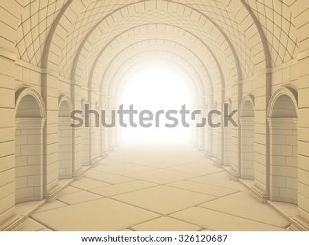 Vintage Column Tunnel - stock photo