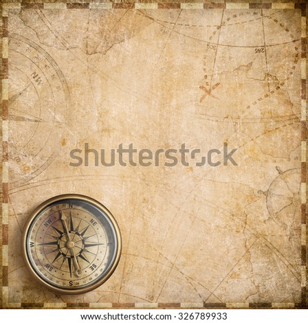 vintage compass and nautical map - stock photo