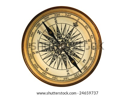Vintage compass isolated on white. - stock photo