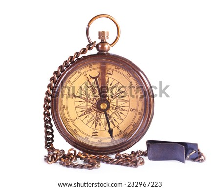 vintage compass on white background - stock photo