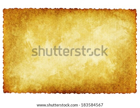 Vintage concept or conceptual old retro aged paper texture isolated on white background.Abstract damaged parchment or label,as a banner for grunge,ornament,book,letter,time,pattern or history designs  - stock photo