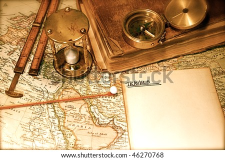 Vintage (1907 copyright EXPIRED) map of a world traveler - stock photo