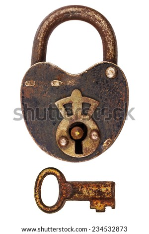 Vintage corroded padlock with separate key isolated on a white background - stock photo
